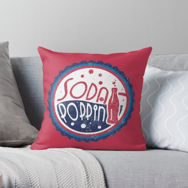 Sodapoppin Retro Soda Pop Bottle Cap Vintage Distressed Red Design Throw Pillow RB1706 product Offical Sodapoppin Merch