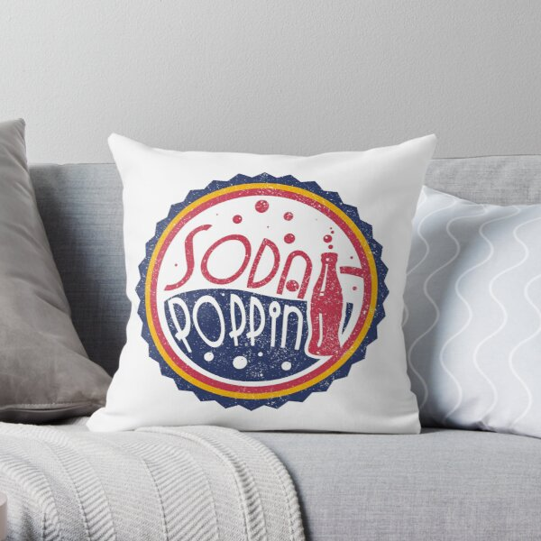 Sodapoppin Retro Soda Pop Bottle Cap Vintage Distressed Red Yellow Blue Design Throw Pillow RB1706 product Offical Sodapoppin Merch