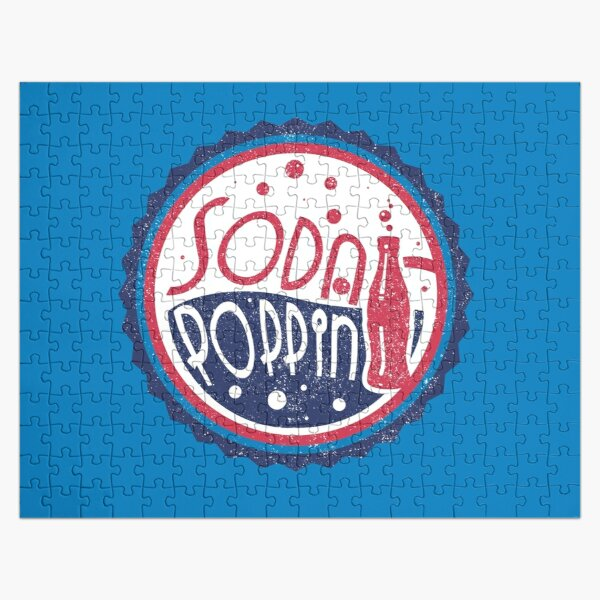 Sodapoppin Retro Soda Pop Bottle Cap Vintage Distressed Red Blue Design Jigsaw Puzzle RB1706 product Offical Sodapoppin Merch