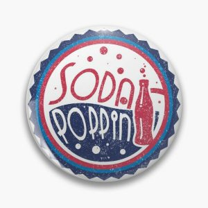 Sodapoppin Retro Soda Pop Bottle Cap Vintage Distressed Red Blue Design Pin RB1706 product Offical Sodapoppin Merch